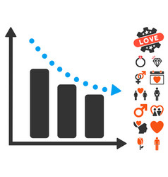 Negative trend icon with lovely bonus vector