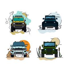 Off road cars set vector
