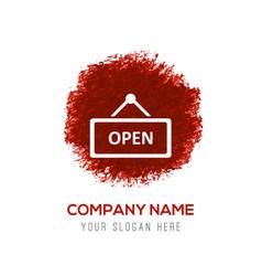 open door sign icon - red watercolor circle splash vector image