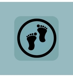 Pale blue footprint sign vector