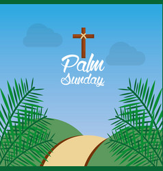 Palm sunday hill path frond religious vector