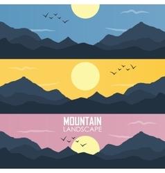 Panorama mountain ridges vector