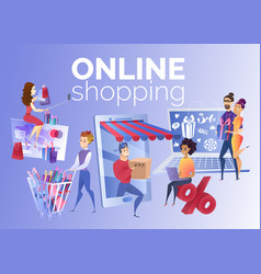 people shopping online cartoon concept vector image