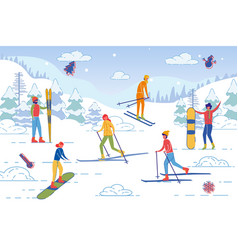 people spend winter vacation together ski resort vector image