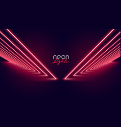 Perspective neon red lights pathway background vector