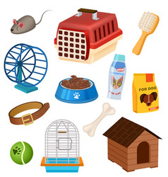 pet shop icons set in cartoon style vector image