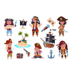 Pirate characters cartoon kids pirates sailors vector