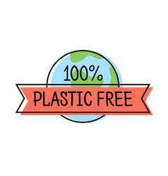 plastic free product label logo line style vector image