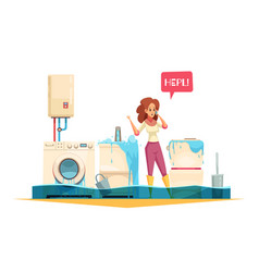 plumber emergency cartoon composition vector image