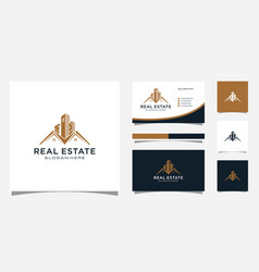 real estate with building and house logo design vector image