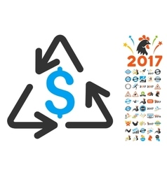 Recycling Cost Icon With 2017 Year Bonus vector image