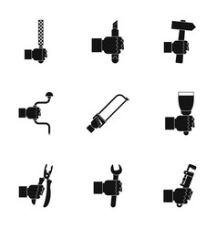 repair hand tool icon set simple style vector image