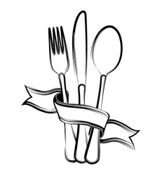 Ribbon spoon knife and fork vector