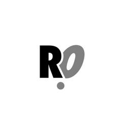 Ro r o black white grey alphabet letter logo icon vector