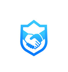 Safe deal partnership icon with handshake vector