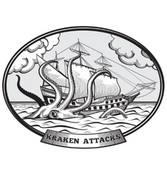 Sailing ship and Kraken monster octopus vector image