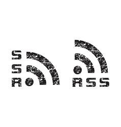scratched shabby news rss icon black vector image