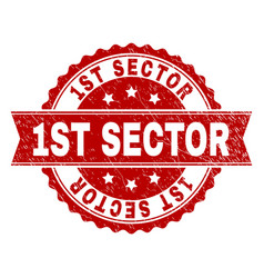 Scratched textured 1st sector stamp seal vector