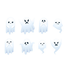 set cute scary little ghost with different vector image
