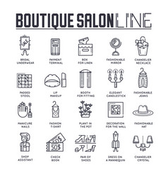 Set fashionable boutique interior thin line vector