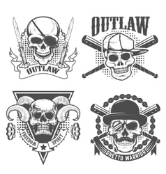 Set of gangster emblems Skull with two crossed vector