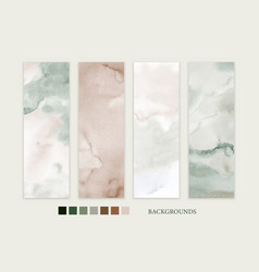 set stain watercolor hand-painted earth-tone vector image