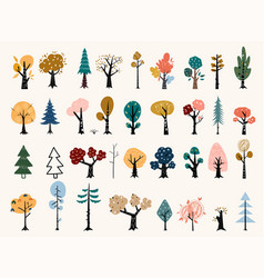 Set trees in a flat style tree icons vector