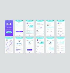 set ui ux gui screens fitness app vector image