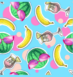 summer seamless bright pattern with watermelon vector image