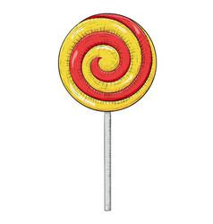 Swirl lollipop sugar candy hand drawn sketch vector