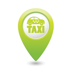 Taxi icon green map pointer vector