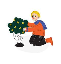 teen boy planting flowering plant kids spring or vector image