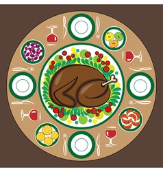 Thanksgiving Day with traditional dishes vector