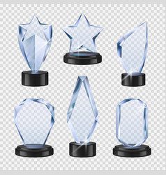 trophies transparent crystal cups awards event vector image