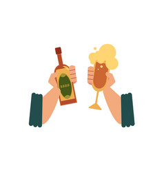 Two male hands with beer bottle and cider glass vector