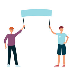 two men holding blank protest sign vector image