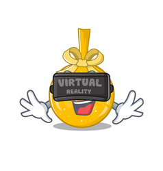 virtual reality christmas ball gold on a character vector image