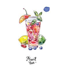 Watercolor glass fruit tea vector
