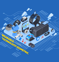 Wearable technology isometric design vector