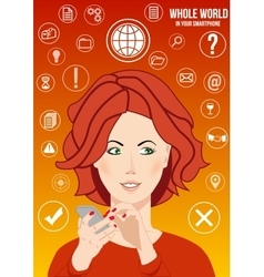 whole world in your smartphone vector image