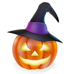 Witch hat halloween pumpkin vector