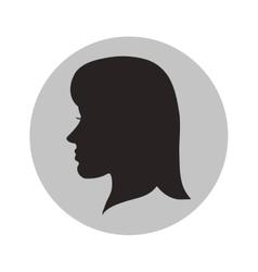 Woman head profile inside circle design vector