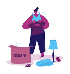 Young woman sorts her clothes and things vector