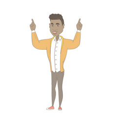African-american man standing with raised arms vector