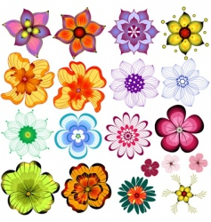 collection decorative flowers vector image vector image