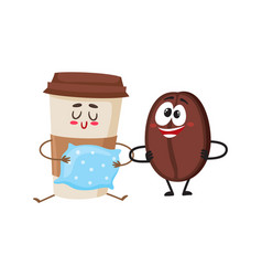 crazy coffee bean and sleepy paper cup characters vector image