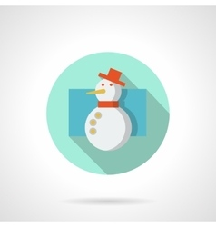 Flat color snowman round icon vector image vector image