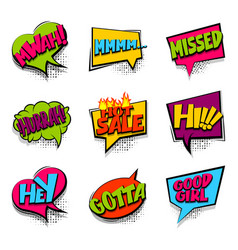 hey hi hot sale colored comic text babble vector image