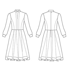 long sleeve dress vector image