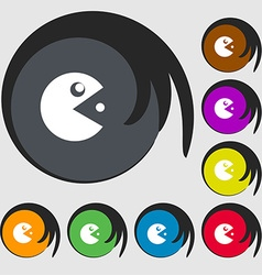 pac man icon sign Symbols on eight colored buttons vector image